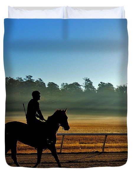 Horse Training At The Winter Colony Duvet Cover
