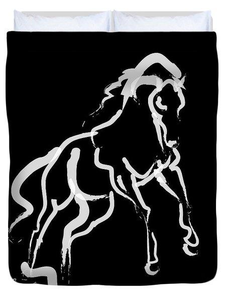 Horse White Runner Duvet Cover by Go Van Kampen