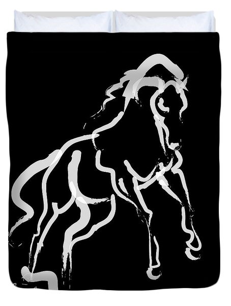 Horse White Runner Duvet Cover