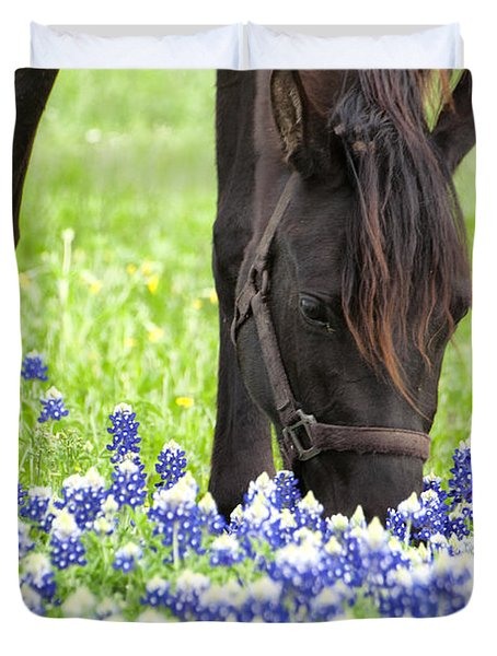 Horse With Bluebonnets Duvet Cover
