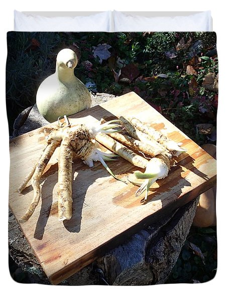 Horseradish In The Fall Duvet Cover