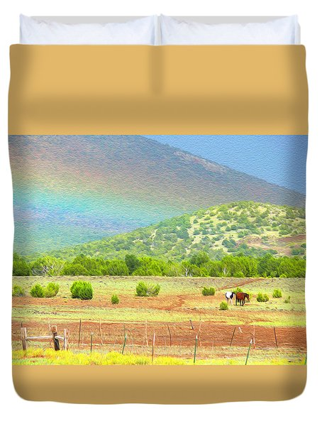 Horses At The End Of The Rainbow Duvet Cover