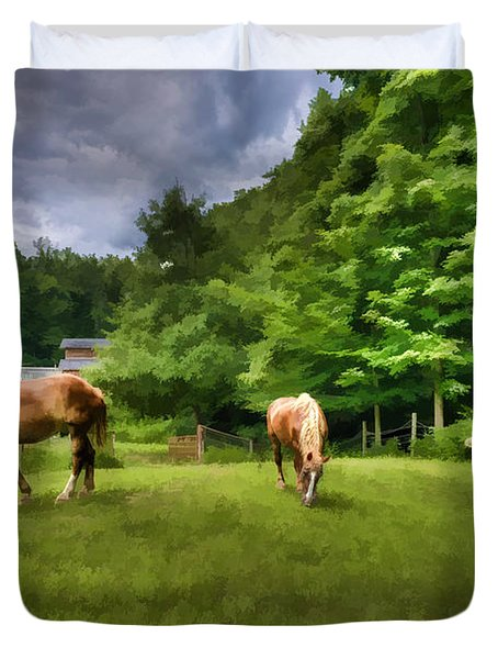 Horses Grazing In Field Duvet Cover by Dan Friend