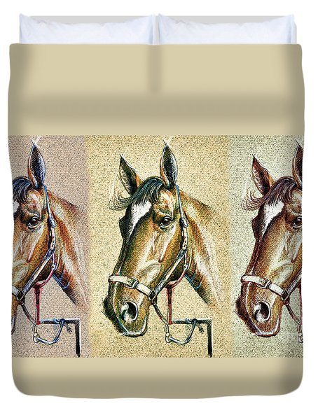 Horses Hand Drawing Duvet Cover