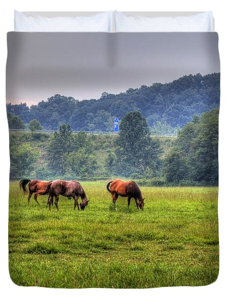 Horses In A Field 2 Duvet Cover by Jonny D