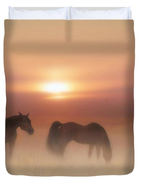 Horses In A Misty Dawn Duvet Cover