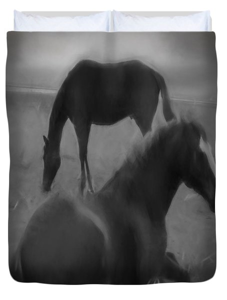 Duvet Cover featuring the digital art Horses In Black And White by Cathy Anderson