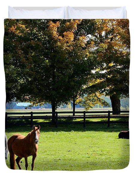 Horses In Fall Duvet Cover
