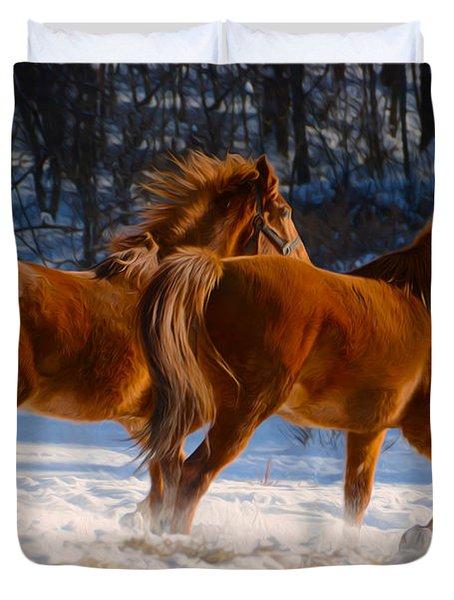 Horses In Motion Duvet Cover