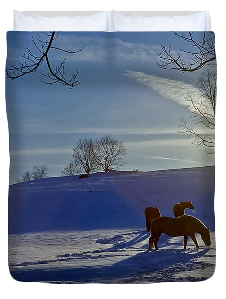 Horses In Snow Duvet Cover