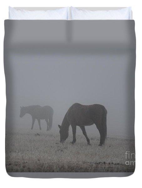 Horses In The Morning Fog Duvet Cover