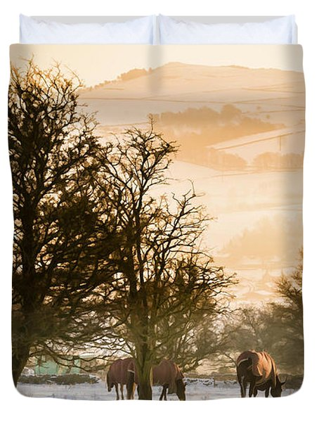 Horses In The Snow Duvet Cover