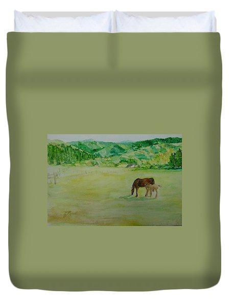 Horses Mare Foal Pastures Rural Landscape Original Art Oregon Western Artist K. Joann Russell Duvet Cover by Elizabeth Sawyer