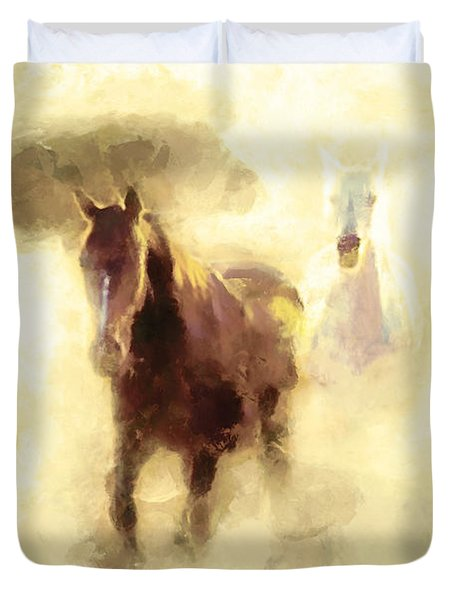 Horses Of The Mist Duvet Cover