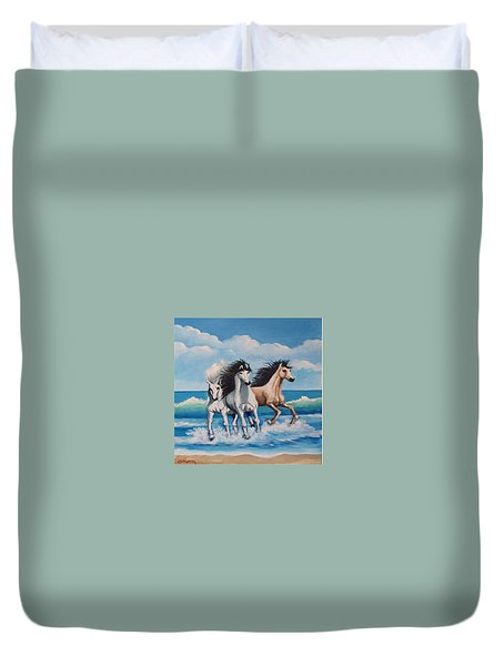 Horses On A Beach Duvet Cover
