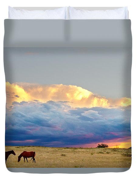 Horses On The Storm Duvet Cover by James BO  Insogna