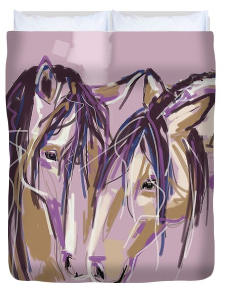 Duvet Cover featuring the painting horses Purple pair by Go Van Kampen