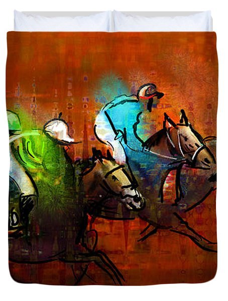 Horses Racing 01 Duvet Cover by Miki De Goodaboom
