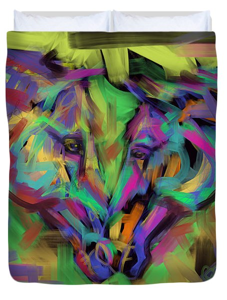 Duvet Cover featuring the painting Horses Together In Colour by Go Van Kampen