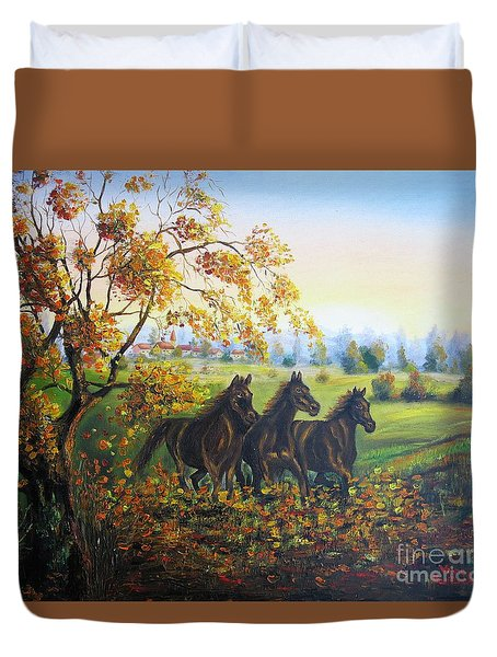 Duvet Cover featuring the painting Horses by Vesna Martinjak