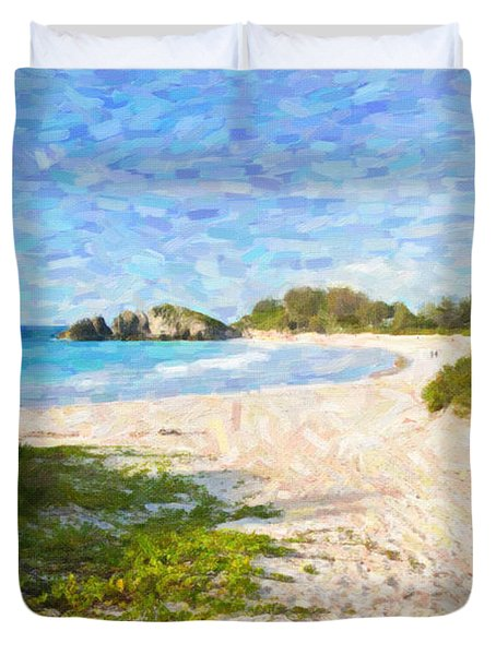 Duvet Cover featuring the photograph Horseshoe Bay In Bermuda by Verena Matthew