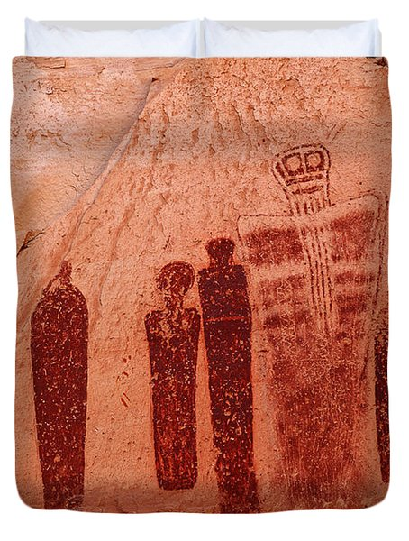 Horseshoe Canyon Pictographs Duvet Cover by Alan Vance Ley