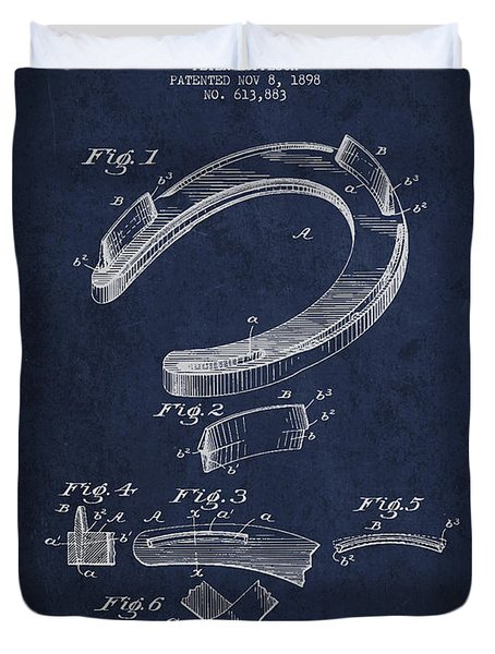 Horseshoe Patent Drawing From 1898 Duvet Cover by Aged Pixel