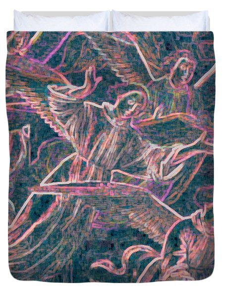 Duvet Cover featuring the digital art Host Of Angels Pink by First Star Art