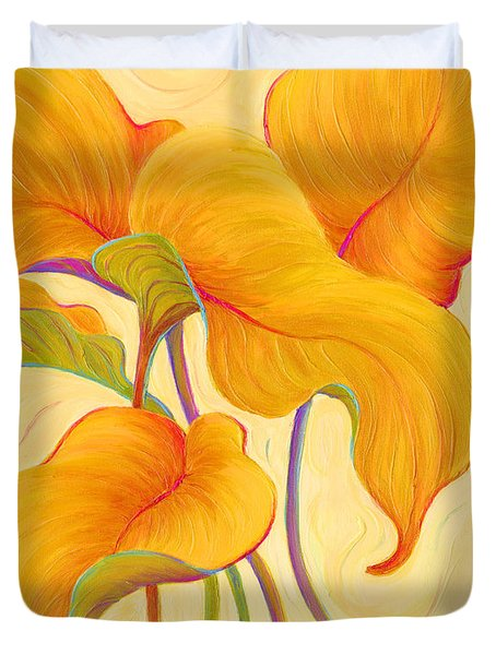 Duvet Cover featuring the painting Hosta Hoofers by Sandi Whetzel