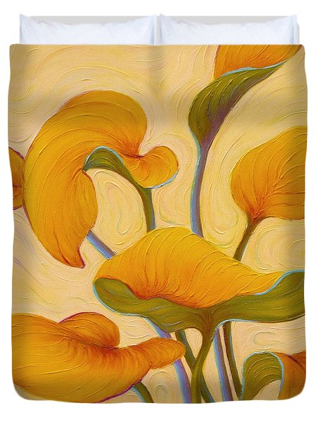 Duvet Cover featuring the painting Hosta Hoofin' by Sandi Whetzel