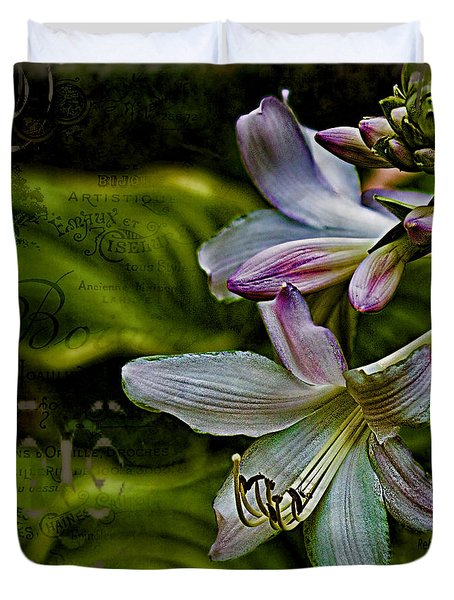 Hosta Lilies With Texture Duvet Cover