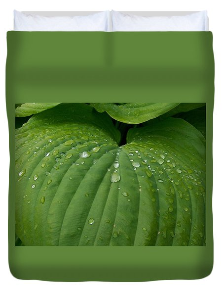 Duvet Cover featuring the painting Hosta  N' Rain  by Sharon Duguay
