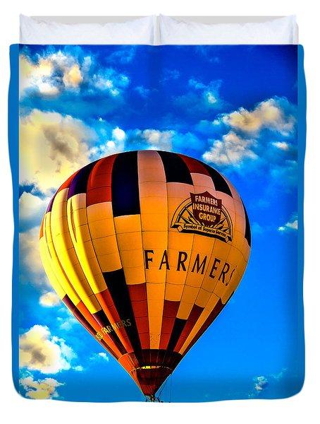Hot Air Ballon Farmer's Insurance Duvet Cover by Robert Bales