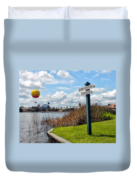 Hot Air Balloon And Old Key West Port Orleans Signage Disney World Duvet Cover by Thomas Woolworth