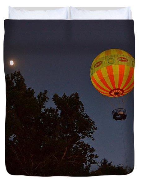 Hot Air Balloon At Night  Duvet Cover
