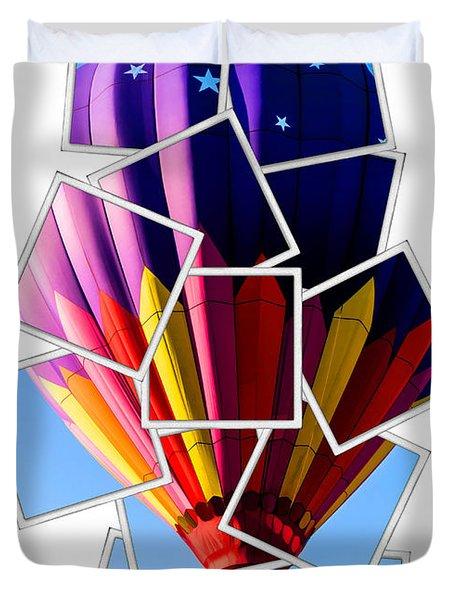 Hot Air Balloon Polaroid Duvet Cover by Edward Fielding