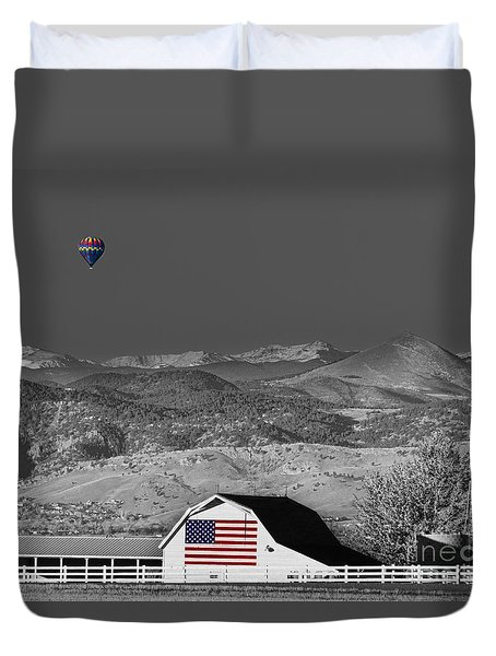 Hot Air Balloon With Usa Flag Barn God Bless The Usa Bwsc Duvet Cover by James BO  Insogna