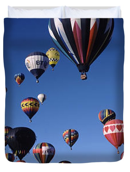Hot Air Balloons Floating In Sky Duvet Cover