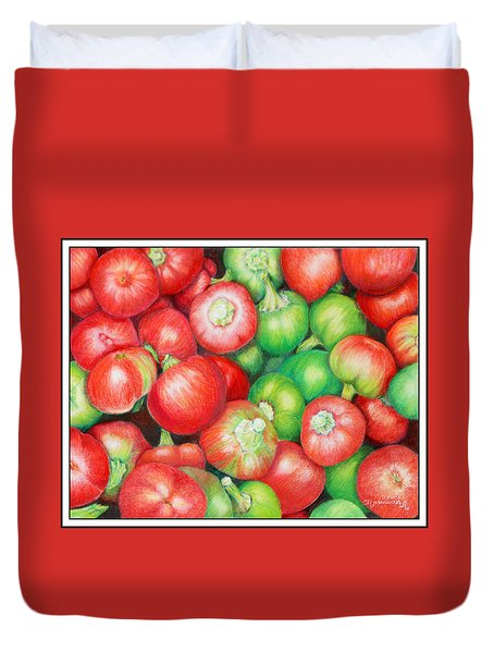 Duvet Cover featuring the painting Hot Cherry Peppers by Mariarosa Rockefeller