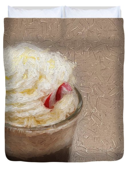 Duvet Cover featuring the photograph Hot Chocolate And Whipped Cream Painterly by Andee Design