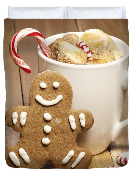Hot Chocolate Toasted Marshmallows And A Gingerbread Cookie Duvet Cover