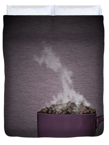 Duvet Cover featuring the photograph Hot Coffee by Gert Lavsen