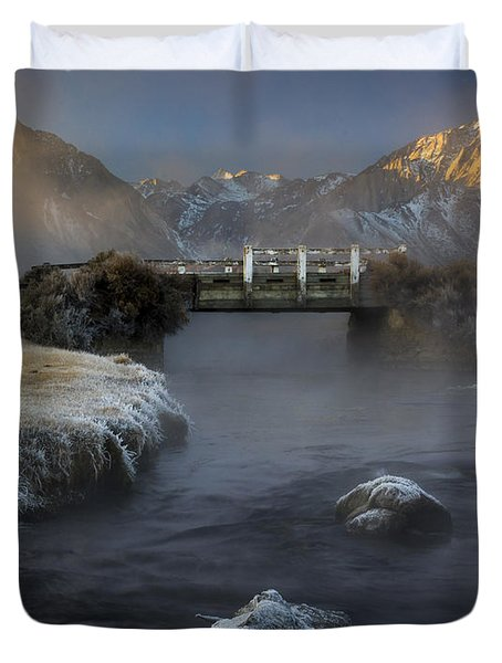 Hot Creek In Winter Duvet Cover
