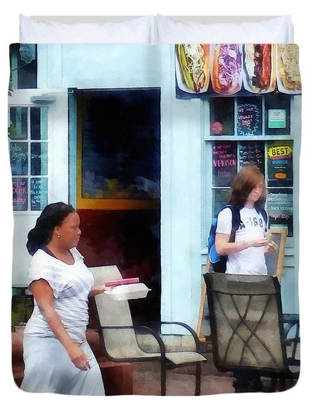 Hot Dog Shop Fells Point Duvet Cover by Susan Savad