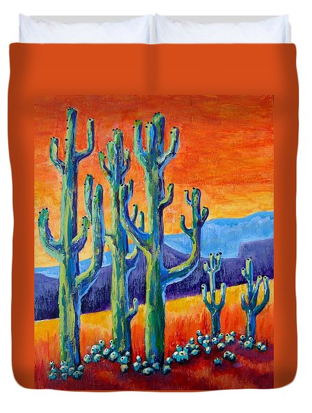 Duvet Cover featuring the painting Hot Giants by Suzanne Theis