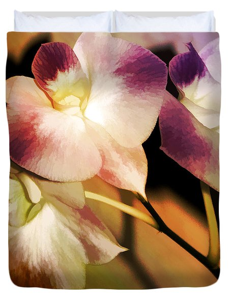 Duvet Cover featuring the photograph Hot Orchid Nights by Holly Kempe