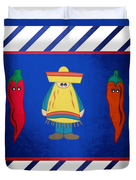 Duvet Cover featuring the digital art Hot Pepper by Megan Dirsa-DuBois