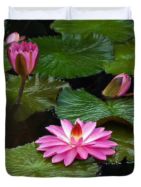 Hot Pink And Green Tropical Waterlilies Duvet Cover
