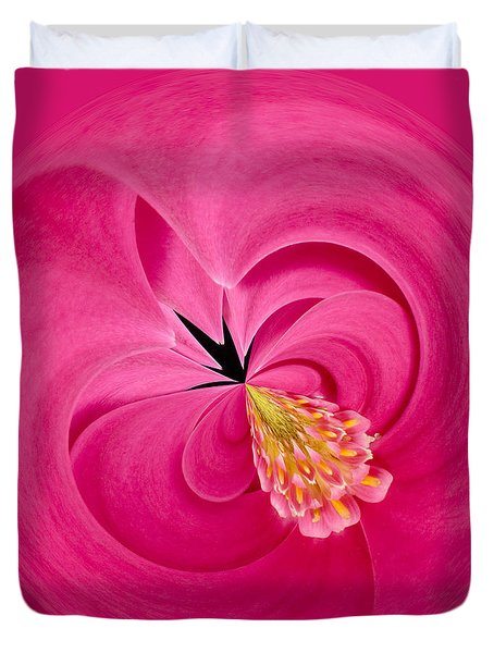 Hot Pink And Round Duvet Cover by Anne Gilbert