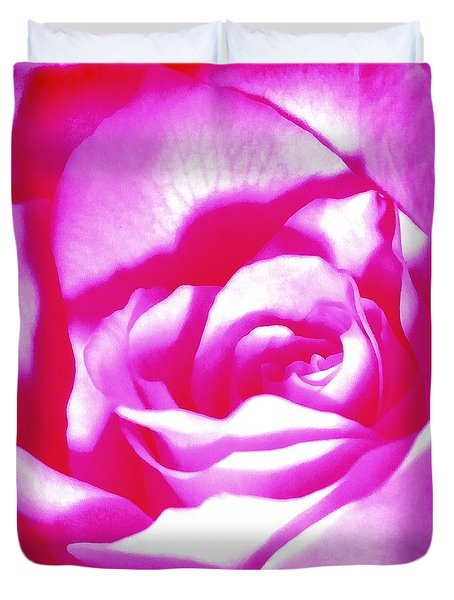 Duvet Cover featuring the photograph Hot Pink And White Rose by Janine Riley